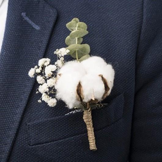 Coton : boutonnière de marié